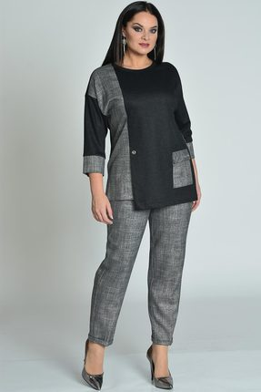 Купить Комплект брючный Lady Style Classic 1687 серый с черным, Брючные, 1687, серый с черным, Туника и брюки: ПЭ 63%+Вискоза 35%+ПУ 2% Туника однотон: Вискоза 38%+ПЭ 62%, Мультисезон