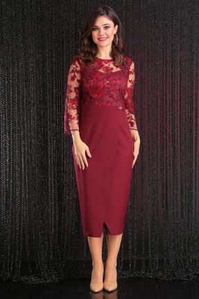 Купить Платье Мода-Юрс 2444 бордо, Платья, 2444, бордо, ПЭ 80%, вискоза 15%, спандекс 5%, Мультисезон