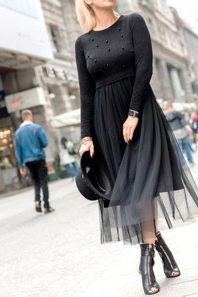 Черное вечернее трикотажное платье