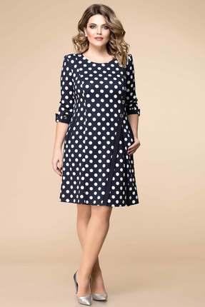 Купить Платье Romanovich style 1-1260 синий горох , Платья, 1-1260, синий горох , 95% ПЭ, 5% спандекс, Мультисезон