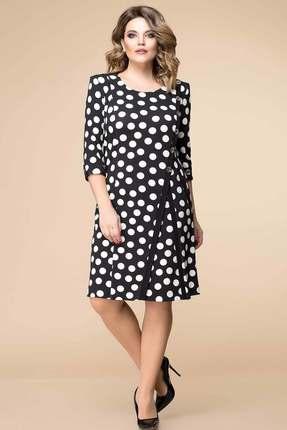 Купить Платье Romanovich style 1-1260 черный горох , Платья, 1-1260, черный горох , 95% ПЭ, 5% спандекс, Мультисезон