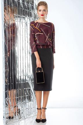 Комплект юбочный Gizart 7101 бордо с черным