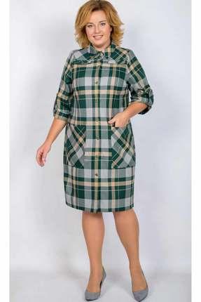 Купить Платье TricoTex Style 2018 зеленая клетка , Платья, 2018, зеленая клетка , 65% вискоза, 30% ПЭ, 5% спандекс, Мультисезон