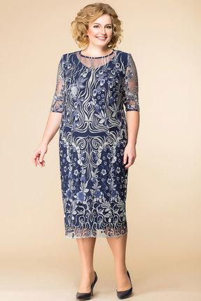 Купить Платье Romanovich style 1-1584н синие тона, Платья, 1-1584н, синие тона, 95% ПЭ, 5% спандекс, Мультисезон