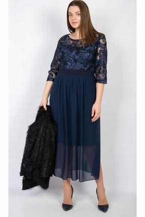 Купить Платье TricoTex Style 108-17 синий, Платья, 108-17, синий, 70% п/э, 25% вискоза, 5% спандекс, Мультисезон