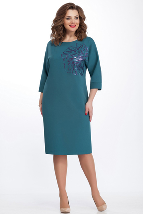 Купить Платье TEZA 125 бирюзовый, Платья, 125, бирюзовый, 20% вискоза 76% полиэстр 4% эластан, Мультисезон