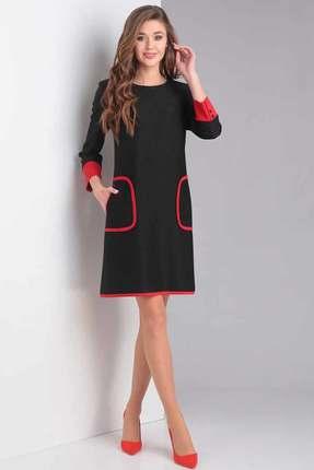 Купить Платье Милора-Стиль 678 черный с красным, Платья, 678, черный с красным, Вискоза - 27%, полиэстер – 67%, спандекс – 2%, эластан - 4%, Мультисезон