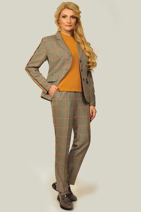 Купить Комплект брючный SandyNa 13509-3 рыжий с серым, Брючные, 13509-3, рыжий с серым, жакет и брюки: костюмная «клетка» (вискоза 65%, полиэстер 30%, эластан 5%) джемпер: трикотажное полотно, Лето