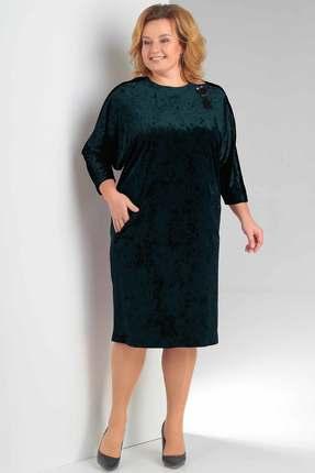 Купить Платье Новелла Шарм 3148-4 зеленый, Платья, 3148-4, зеленый, бархат, кружево (пэ 97%, спандекс 3%), Мультисезон