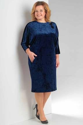 Купить Платье Новелла Шарм 3148-2 синий, Платья, 3148-2, синий, бархат, кружево (пэ 97%, спандекс 3%), Мультисезон
