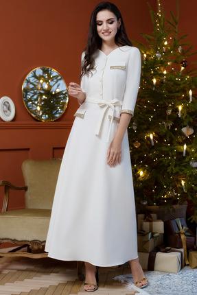 Купить Платье ЮРС 18-953-1 бело-молочные тона, Вечерние платья, 18-953-1, бело-молочные тона, полиэстер 65%, вискоза 30%, спандекс 5%., Мультисезон