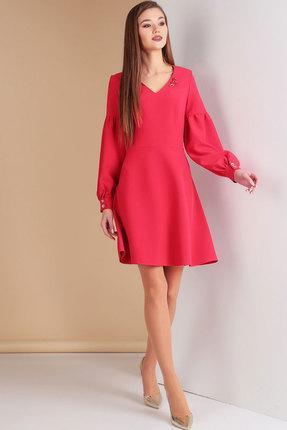 Купить Платье Ксения Стиль 1607 красный, Платья, 1607, красный, п/э 71%, вискоза 23%, спандекс 6% (текстиль), Мультисезон