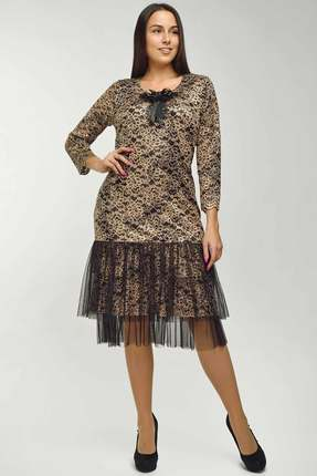 Купить Платье Danaida 1567 золото с черным, Платья, 1567, золото с черным, полиэстер 60%, вискоза 35%, эластан 5%, Мультисезон