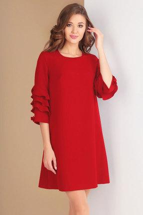 Купить Платье Ксения Стиль 1574 красный, Повседневные платья, 1574, красный, п/э 71%, вискоза 23%, спандекс 6% (костюмно-плательная ткань), Мультисезон
