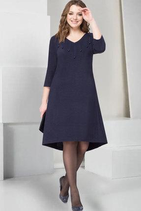 Купить Платье ТАиЕР 744 тёмно-синий, Платья, 744, тёмно-синий, Вискоза 85%, Полиэстер 11%, Эластан 4%, Мультисезон
