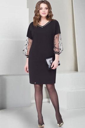 Купить Платье ТАиЕР 754 чёрный, Платья, 754, чёрный, Вискоза - 60%, Полиэстер - 34%, Эластан - 5%, Люрекс - 1%, Мультисезон