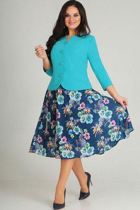 Купить Комплект юбочный Асолия 1164.1 бирюза+синий, Юбочные, 1164.1, бирюза+синий, Жакет - стрейчевая костюмная ткань; юбка - плотный шифон Жакет: ПЭ - 71%, вискоза - 23%, спандекс - 6%; юбка: ПЭ - 100%, Мультисезон
