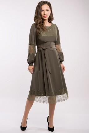 Купить Платье Teffi style 1358 хаки, Платья, 1358, хаки, 95% пэ, 5% эластан, Мультисезон