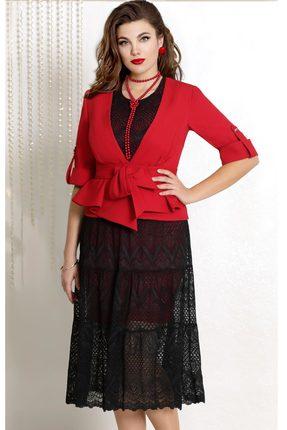 Купить Комплект плательный Vittoria Queen 7263 черный с красным, Плательные, 7263, черный с красным, Жакет ПЭ 86%+Спандекс 14% Платье ПЭ 96%+Спандекс 4%, Мультисезон