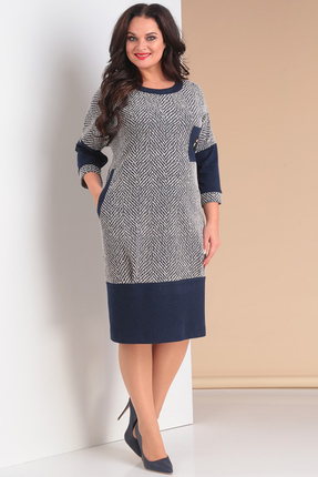 Купить Платье Moda-Versal 1980 сине белый, Повседневные платья, 1980, сине белый, Трикотаж. Состав: 64% вискоза, 34% п/э, 2% эластан., Мультисезон