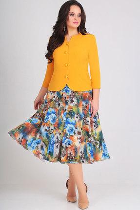 Купить Комплект юбочный Асолия 1164.2 жёлтый+мультиколор, Юбочные, 1164.2, жёлтый+мультиколор, Жакет - стрейчевая костюмная ткань; юбка - плотный шифон Жакет: ПЭ - 71%, вискоза - 23%, спандекс - 6%; юбка: ПЭ - 100%, Мультисезон