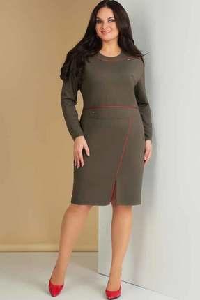 Купить Платье Ксения Стиль 1606 хаки, Повседневные платья, 1606, хаки, п/э 72%, вискоза 24%, спандекс 4% (трикотажное полотно), Мультисезон