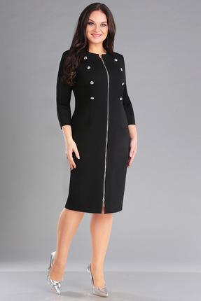 Купить Платье Ива 1058 черный, Повседневные платья, 1058, черный, плательный плотный трикотаж 70% вискоза, 25% п/э, 5% спандекс, Мультисезон