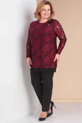 Комплект брючный Новелла Шарм 3158-1 бордо с черным