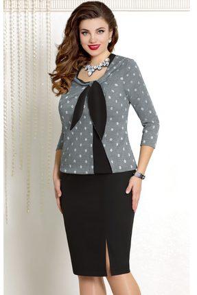 Купить Платье Vittoria Queen 7223/1 черно-серый, Повседневные платья, 7223/1, черно-серый, ПЭ 60%+Вискоза 35%+Металлическая нить 5%, Мультисезон