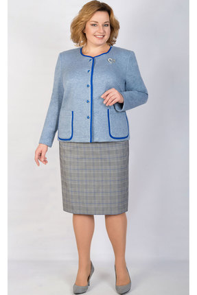 Купить Комплект юбочный TricoTex Style 1855 голубой, Юбочные, 1855, голубой, 70% п/э, 25% вискоза, 5% спандекс, Мультисезон