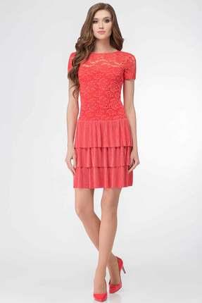 Купить Платье БелЭкспози 818 коралл, Вечерние платья, 818, коралл, Полиэстер 96%, спандекс 4%, Мультисезон