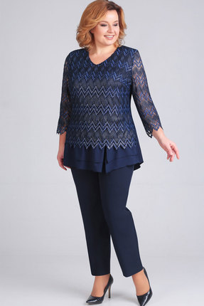 Купить Блузка Асолия 4041 тёмно-синий, Блузки, 4041, тёмно-синий, ПЭ - 95%, Спандекс - 5%, Мультисезон