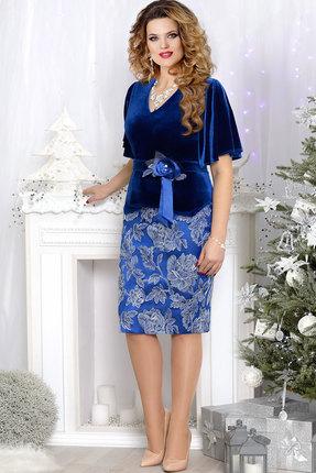 Купить Комплект юбочный Mira Fashion 4545 василёк , Юбочные, 4545, василёк , ПЭ - 64%; Спандекс - 2%; Вискоза - 34%, Мультисезон