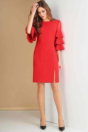 Купить Платье Ксения Стиль 1615 красный, Вечерние платья, 1615, красный, п/э 71%, вискоза 23%, спандекс 6%, Мультисезон