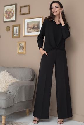Купить Комплект брючный ЮРС 18-907-1 черный, Брючные, 18-907-1, черный, Тип ткани на блузку: костюмно-плательная. Состав: полиэстер 100%. Тип ткани на брюки: костюмно-плательная. Состав: полиэстер 62%, вискоза 33%, спандекс 5%., Мультисезон