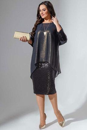 Купить Платье Erika Style 736 черный с золотом, Повседневные платья, 736, черный с золотом, вискоза 72%, ПЭ 25%, спандекс 3%, Мультисезон