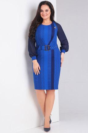 Купить Платье Милора-Стиль 671 синий, Повседневные платья, 671, синий, Вискоза - 67%, полиэстер – 27%, спандекс – 2%, эластан - 4%, Мультисезон