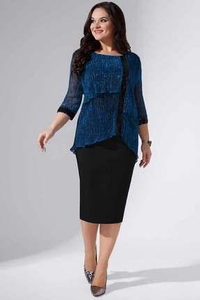 Купить Платье Erika Style 740 морская волна - черный , Вечерние платья, 740, морская волна - черный , вискоза 72%, ПЭ 25%, спандекс 3%, Мультисезон