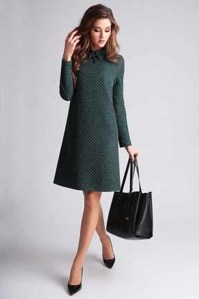 Купить Платье Axxa 55037 темно-зеленый, Повседневные платья, 55037, темно-зеленый, Трикотаж (ПЭ-65%, ВИСКОЗА-35%), Мультисезон