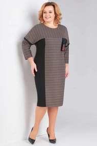Платье Милора-Стиль 665 черный с коричневым