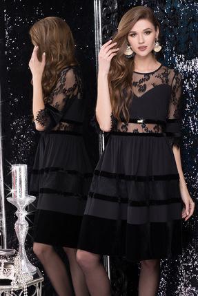 Купить Платье LeNata 11980 черный, Вечерние платья, 11980, черный, ткань креп, велюр и кружево, 95% ПЭ, 5% спандекс, Мультисезон