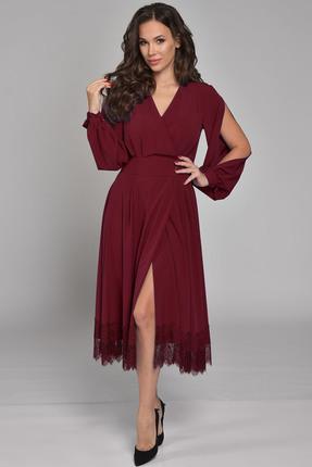 Купить Платье Teffi style 1310 бордо, Вечерние платья, 1310, бордо, 94% ПЭ, 6% спандекс, Мультисезон