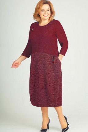 Купить Платье Elga 01-581 бордовый, Повседневные платья, 01-581, бордовый, 65% Вискоза 30% ПЭ 5% Метал.нить, Мультисезон