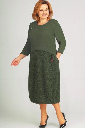 Купить Платье Elga 01-581 олива , Повседневные платья, 01-581, олива , 65% Вискоза 30% ПЭ 5% Метал.нить, Мультисезон