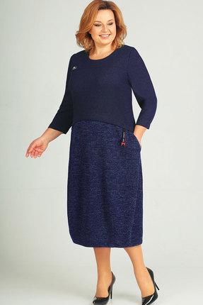 Купить Платье Elga 01-581 тёмно-синий, Повседневные платья, 01-581, тёмно-синий, 65% Вискоза 30% ПЭ 5% Метал.нить, Мультисезон