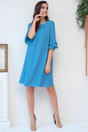 Купить Платье ЮРС 19-956-1 голубой, Повседневные платья, 19-956-1, голубой, полиэстер 60%, вискоза 40%., Мультисезон