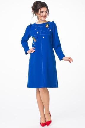 Купить Платье Melissena 935 василек, Повседневные платья, 935, василек, 65% вискоза, 30% ПЭ, 5% эластан, Мультисезон