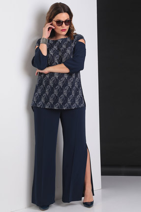 Купить Комплект брючный Viola Style 20512 синий, Брючные, 20512, синий, Блуза - 50% ПЭ, 45% вискоза, 5% спандек, Брюки - 93% ПЭ, 7% спандекс, Мультисезон