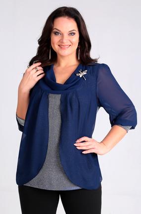 Купить Блузка Таир-Гранд 62324 синий, Блузки, 62324, синий, Состав: ПЭ 95%, спандекс 5%, Мультисезон