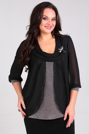 Купить Блузка Таир-Гранд 62324 черный, Блузки, 62324, черный, Состав: ПЭ 95%, спандекс 5%, Мультисезон